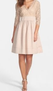 Eliza J Lace & Faille Fit & Flare Bodice Dress